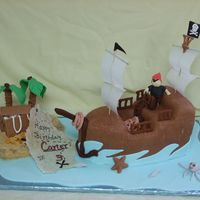 Pirate Ship Pirate ship carved from a 9 x 13 and covered in fondant. All details fondant.