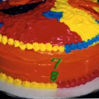Sesame Street side of Elmo and BigBird cake, w/numbers, shapes all around