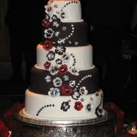 Red, White And Black Round Wedding Cake This was a wedding cake I did recently for a close friend. Inspiration was taken from another CCer. 14, 12, 10, 8, 6. Flowers were done...