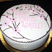 Cherry Blossom Christening Cake I thought this was a very simple cake and the color combination is pretty.I made the cherry blossoms with buttercream on the nail .I had a...