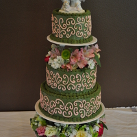 Sage Green & Pink Swirls Wedding Cake I loved the cake without the flowers... first time I ever used fresh flowers and I REALLY loved it after they were put on. This is probably...