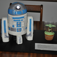 "Star Wars Sputnikfest Cake This was my entry for Sputnikfest 2010. I had an R2D2 made of 4 6"" peanut butter cakes with the ball pan on top. The legs were made of..."