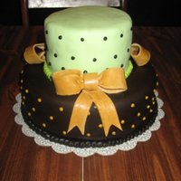 Green, Brown & Gold Wedding Shower Cake I was asked to make this cake after a local bakery quoted the girl $150 for the same thing. I offered to do it for $90 and got the job. She...