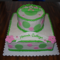 "Peapod Baby Shower I was asked to make this cake for a baby shower. 6"" round with 10"" square. Buttercream with fondant accents & fondant figure..."