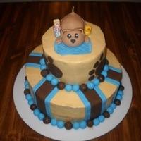 "Puppy Baby Shower Cake Made this for my husband's cousin's baby shower. They gave me the theme as ""puppies"" so I just went with that."
