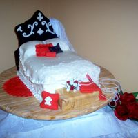 French Shabby Chic Bed  This cake was for a bridal shower with a bed & bath theme. They decorated in shabby chic blk, wht, red and silver. The 'mattress&#...