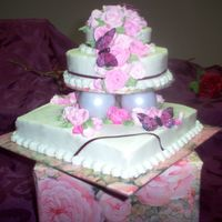 "Mini Tier Single layer 8"" square, 6"" round top, strawberry cake, BC icing, royal icing roses and fabric butterflies (didn't have time..."