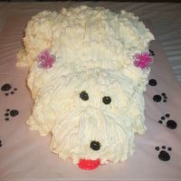 Doggie Cake Thanks to my cake friend who help me get directions for this,my sister was sooo HAPPY!!!!!! didnt have the grass tip so I used tip 21