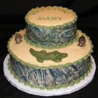 "Hunting Theme Shower  The family found out they were having a third boy, and the mom said ""No more baby blue!"" The dad is a hunting guide, so the..."