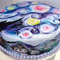 Van Gogh Starry Night  A client asked me to create an interpretation of Van Goghs Starry Night on a cake for her daughters baby shower. She asked me to...