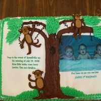 Triplets First Birthday... Story Book Cake edible image of triplets and story, fondant monkeys everything else is buttercream..