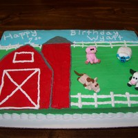 1St Birthday Barnyard And Friends fondant animals everything else is butter cream