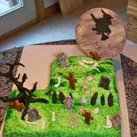 Graveyard Cake graveyard cake. Covered in fondant and everything is made out of fondant.
