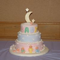 This Cake Was Inspired By The Wiltons Cake Over The Moon With Joy This Is My First Baby Shower Cake This Is A Three Tier Cake Covered In This cake was inspired by the Wiltons Cake Over the Moon with Joy. This is my first baby shower cake. This is a three tier cake covered in...