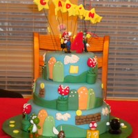 Mario Brothers Theme Three tier cake covered in fondant. Made the back ground, coins, the fly traps, number on top and stars out of fondant. The mario figures...