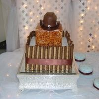 Jesse Groom's cake for my son-in-law. Bottom tier is chocolate hazelnut w/pirouette cookies. Top two tiers are coconut. Middle tier is...