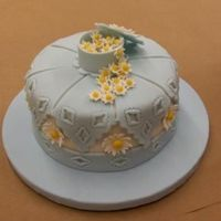 Final Wilton Cake W/gumpaste This is the first time I have worked with gumpaste. This was my final cake for the Wilton Gumpaste/Fondant class.