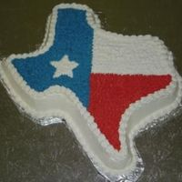 State Of Texas Flag The groom specificially requested the shape of Texas and to look like our state flag. Cake is red velvet with cream cheese icing.
