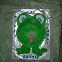 Frog Cake This is one of the three cakes I made for my little boys 3rd Birthday. Got the idea from wilton website. Fun fettie cotton flavored cake...