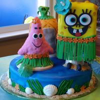 Sponge Bod Hawaiian Style Sponge Bob made with MMf Patrick made with rice crispies and covered in MMF