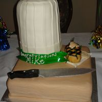 Culinary Graduation Cake This was for a Culinary Graduate Celebration. All MMF. Bottom 14 in. square was made to look like a cutting board, chefs hat is 4 - 6 in....