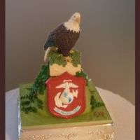 Marine Eagle MOG ordered this cake for her son & was ready to pay for it too! She had a statue that we used as inspiration. The eagle was homemade...