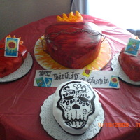 Sacred Heart Of Jesus The birthday girl wanted the main cake to be the Sacred Heart of Jesus with two mini sacred heart cakes topped with Loteria cards as well...