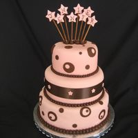 "Jennifer Cake All MMF with lollipop sticks holding up the stars. I painted on the letters. 10"" marble, 8"" strawberry, 6"" chocolate. I&#039..."