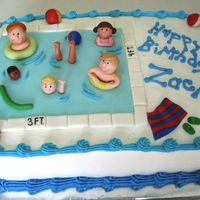 Pool / Swim Party Cake Buttercream with MMF accents. This one was fun to do.