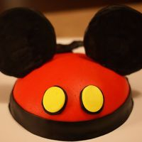 Mickey Ears Birthday Cake Yellow cake covered in marshmallow fondant, made in half of a ball pan using the Durable Cake for 3D and Wedding Cakes recipe.