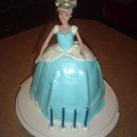 Cinderella Doll Cake This is a strawberry cake covered in mmf. The dress has pearl dust and edible cake sparkles to add shimmer. This is my first doll cake and...