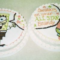Spongebob (2 Cakes) All buttercream with free hand artwork. Comments appreciated.