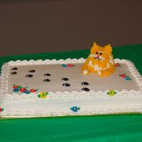 Cat Lover's Cake 2 sheet cakes and round cake for 40th birthday feast for a crazy cat lady.