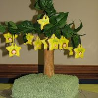 Preschool Graduation Branching Out Cake This was done for the Church Preschool. The trunk is a paper towel tube wrapped in fondant.