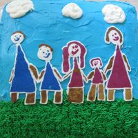 Family Picture Cake  My daughter wanted to make a special cake for Daddy's bday. She decided to draw a family picture. This was my first attempt at FBCT....