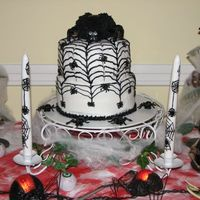 Spider Cake   My Dmom wanted something spooky for Halloween party. Thanks to those that posted the 3D spiders.