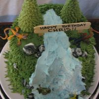 Waterfall Cake (With Bugs--Top View)   I like better without the bugs. :)