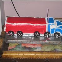 Semi Truck Cake I made this for my DFIL. Unfortunetly I didn't take pictures before transporting it. (learned my lesson there) We had to drive 1hr to...