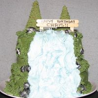 Waterfall Cake Inspiration for this one came from here. :) Thank you! It is chocolate cake with Chocolate Kahlua filling. Fondant rocks. This is before I...