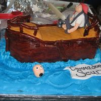 Pirates Pirate ship for a friend. Ship is carved caked covered w/fonant. Boards etched by hand. Pirate and accents all fondant/gumpaste. Water is...