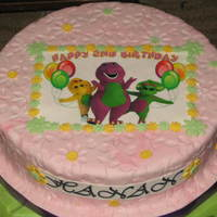 Barney Birthday Cake fruit cake decorated with fondant and barney printed on edible paper