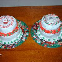 Christmas Cakes These were done for DD and her roomate. Choc fudge cake with BC icing and store bought candy cane and gummy santa and snow man. These were...