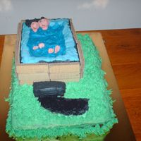 Hot Tub Cake Made this one for a bbq I'm going to today. It was the first time stacking and dowling for me as well as making fondant people....