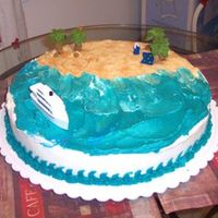 Bon Voyage This cake was a going away party cake for a friend leaving to work on a cruise ship for an extended period of time. The beach is crushed...