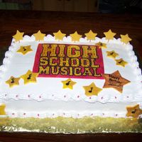 High School Musical Got the idea from several different cakes on here, thanks to all of you!Hand painted fondant/gumpaste plaque and stars.