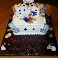 Casino Anniversary This was inspired by a cake here on CC by DiscoLady.Mine was vanilla and choc butter cake marbled with buttercream frosting. Poker chips,...
