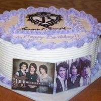 Jonas Brothers Cake hand painted gumpaste/fondant plaque. Pictures protected by packing take, idea combined from several on CC, thank you!