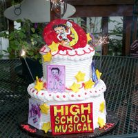 Hsm/betty Boop Combo. cake for my nieces' birthdays. Fondant/gumpaste plaques and stars hand painted with food colors.