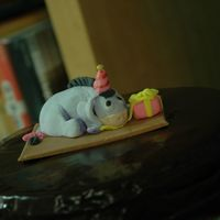 Eeyore Birthday Cake chocolate cake with dark chocolate ganache icing Eeyore entirely edible made out of fondant
