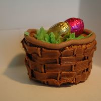 Easter Egg Baskets Hazelnut chocolate cupcake with chocolate buttercream iced using a basket weave tip and I melted white chocolate, coloured it green,...